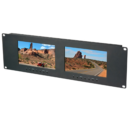 Delvcam Dual 7 Inch 3RU VGA & DVI & Composite LCD Video Monitor