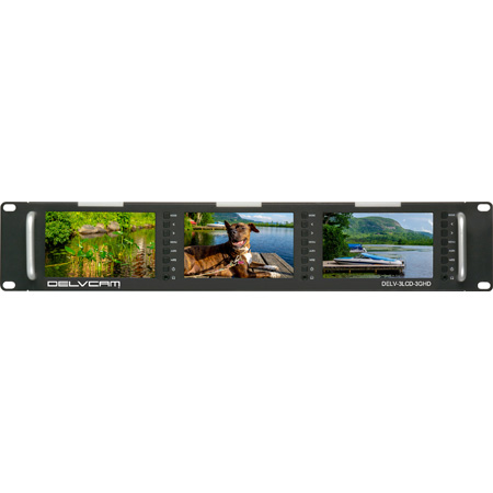 Delvcam DELV-3LCD-3GHD 5-Inch Triple Rackmount 3G-SDI HDMI Video Monitor