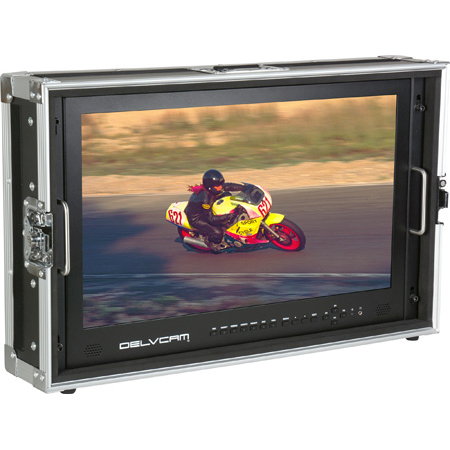 Delvcam DELV-4KSDI24 4K UHD HDMI 3G-SDI Quad View LED Broadcast Monitor Mounted in Rugged Carrying Case - 24 inch